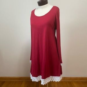 Ouges XXL light burgundy dress with lace edging